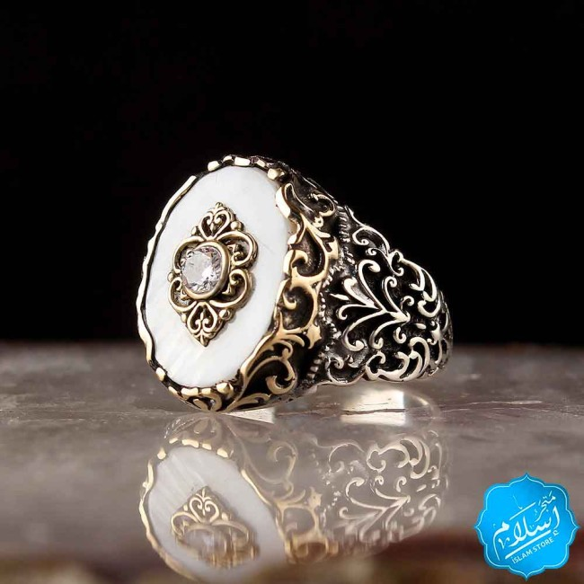 Silver Ring With Mother Of Pearl Stone White