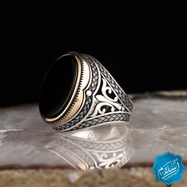 Silver Ring With Amber Stone Black