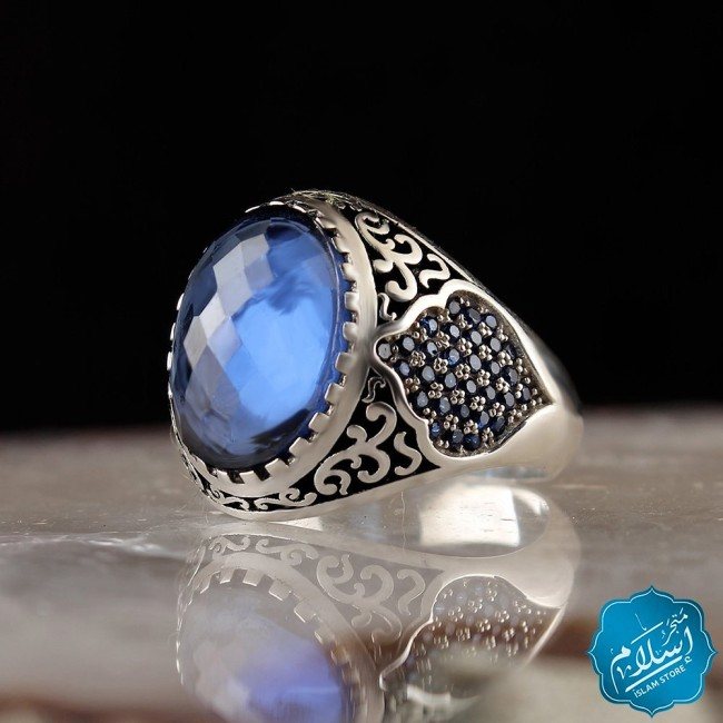 Silver Ring With Zircon Stone Light Blue