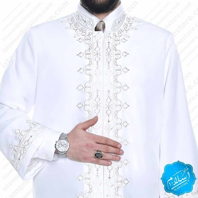 Taqi Abaya Decorated White Color