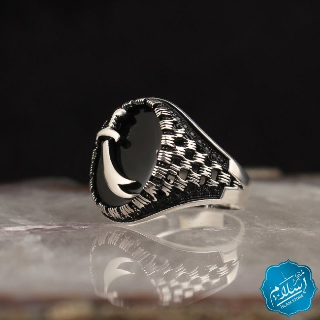 Silver Ring Sword Shape With Onyx Stone