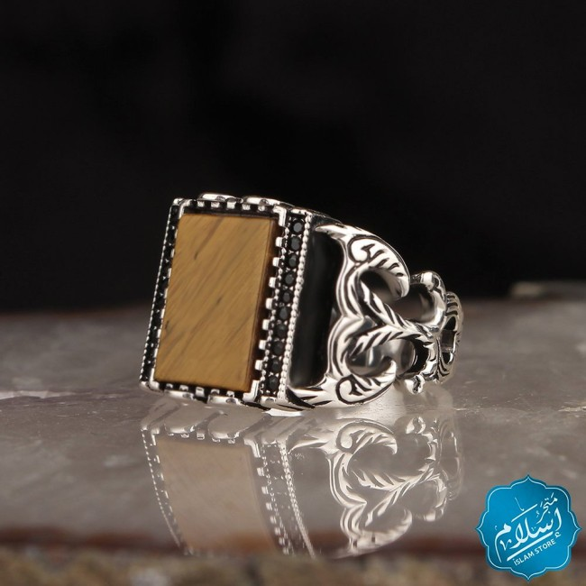 Silver Ring With Agate Stone Brown