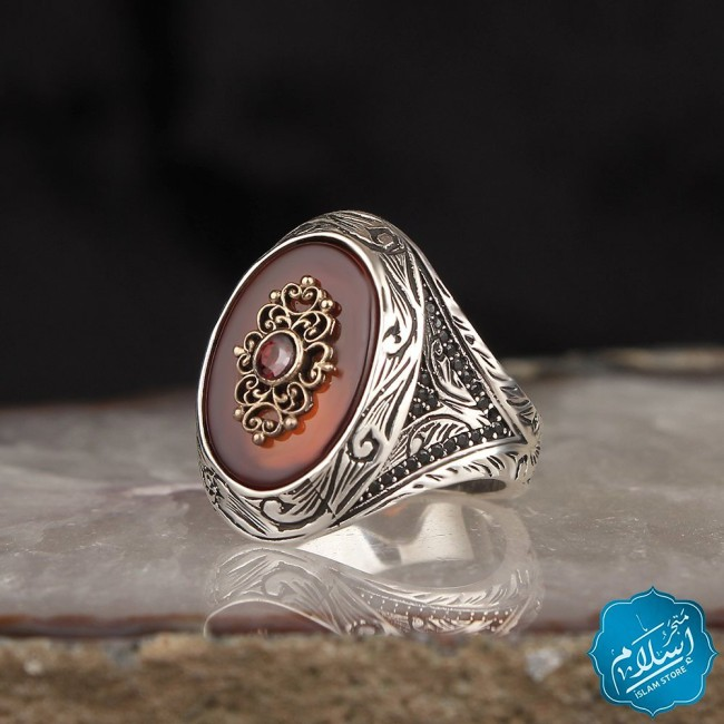 Silver Ring With Agate Stone Red Color