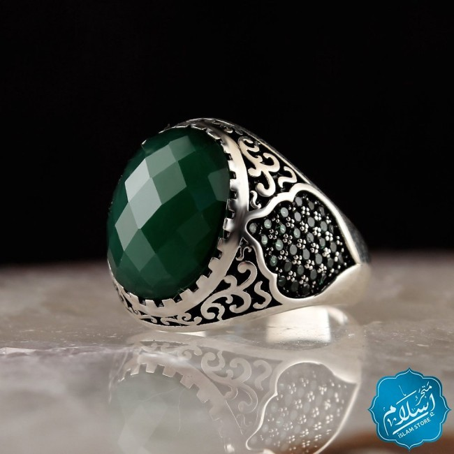 Silver Ring With Zircon Stone Green