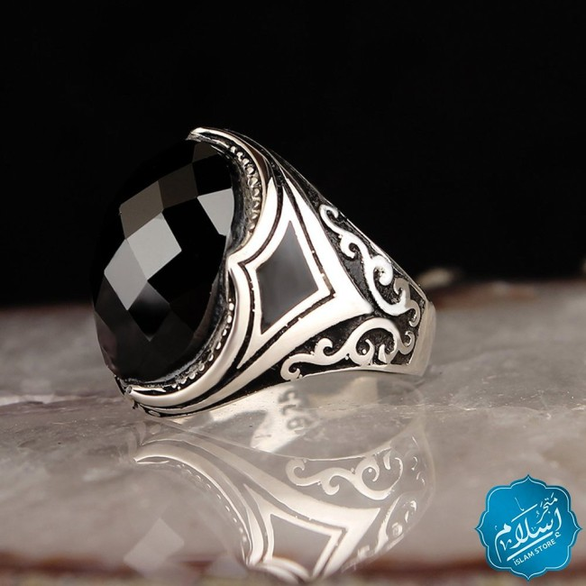 Silver Ring With Zircon Stone Black