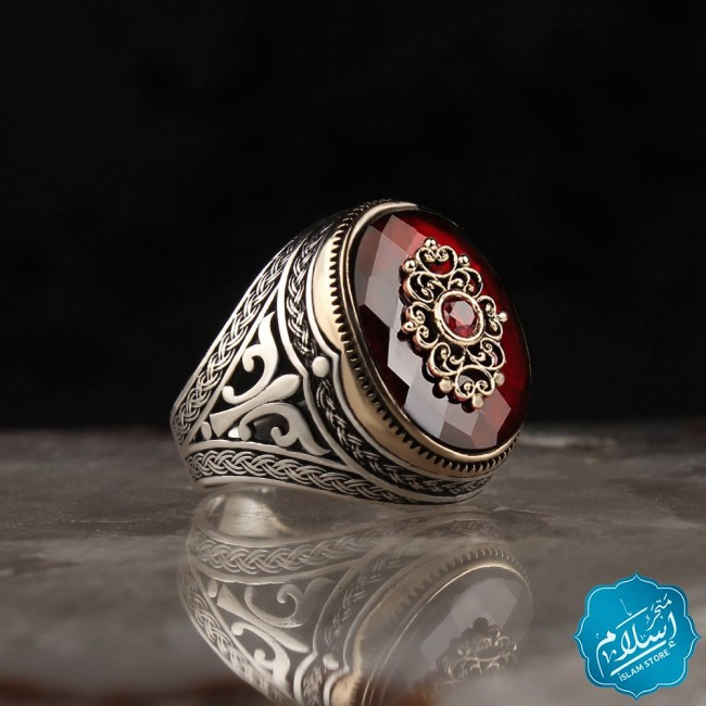 Silver Ring With Zircon Stone Red -2