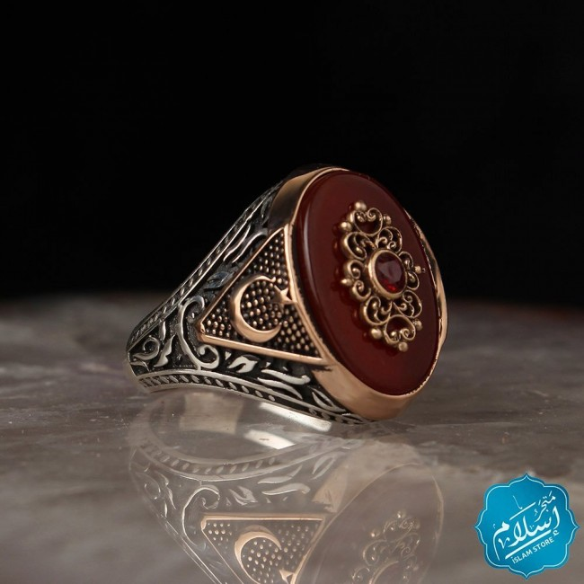 Mens silver ring  with agate stone burgundy color