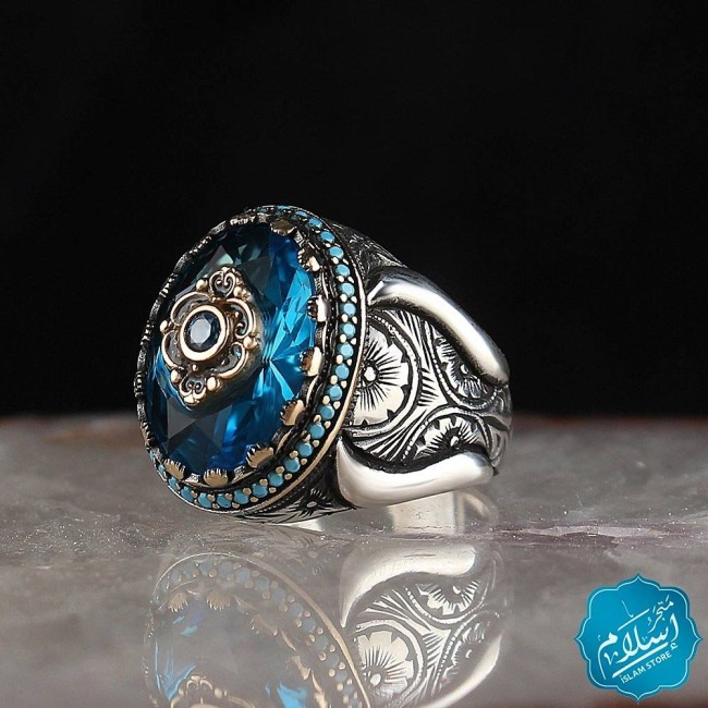 Silver Ring With Aqua Blue Stone
