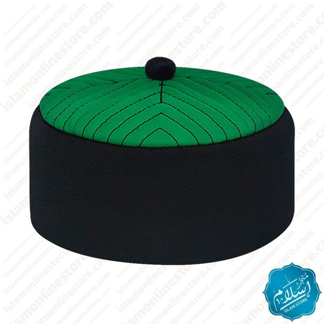 Men prayer cap black and green color